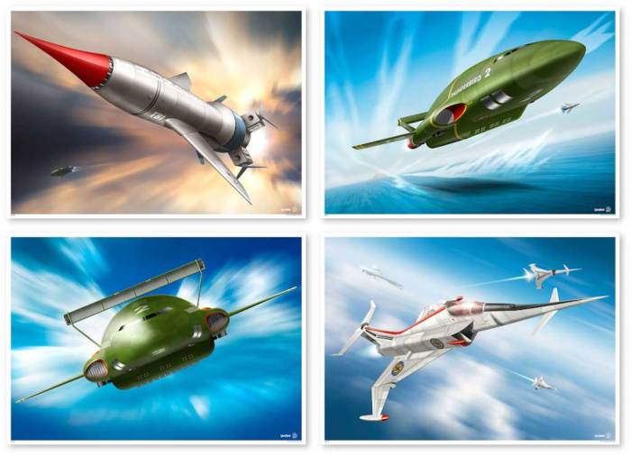 """In Action"" featuring Thunderbirds and an Angel interceptor. Series 1 by Rodrigo Barraza"
