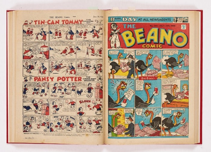 Beano (1945) 249-274. Complete year in bound volume. Propaganda war issues First 'Six Brands for Bonnie Prince Charlie' double page spread by Dudley Watkins with Lord Snooty, Strang the Terrible, Tom Thumb and Pansy Potter