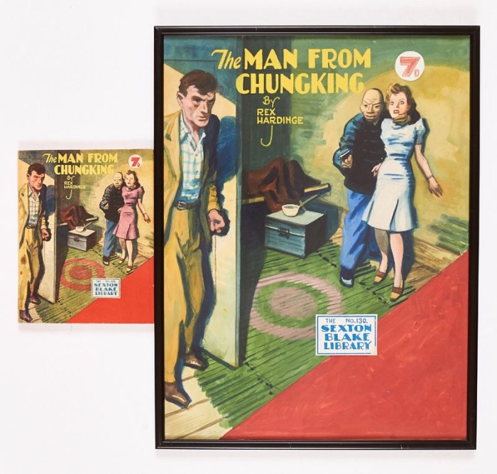 """Sexton Blake - """"The Man from Chungking"""" original artwork by Eric Parker for Sexton Blake Library No 130 (1946), booklet included. Poster colour on board. 16 x 13 ins"""