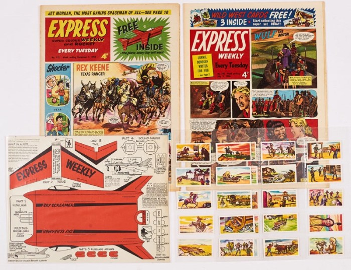 Express Weekly (1956-58) 115, 198, 115 with free gift  Sky Screamer, 198 with free gift Wild West Card Set of 25 cards complete (and collected from several further issues)