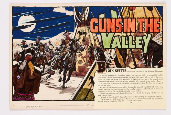 Guns in the Valley original double-page artwork (1956) drawn and painted by Denis McLoughlin from the Buffalo Bill Wild West Annual No 8, 1956. Fresh poster colour on board. 20 x 14 ins