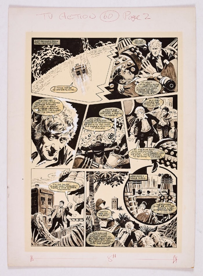 Doctor Who original artwork drawn and painted by Gerry Haylock for TV Action No 60 (April 8 1972) starring Jon Pertwee as the Doctor , The Tardis, The Daleks - all illustrated here. Black ink and wash highlighted in white on board. 21 x 15 ins