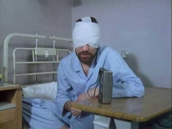John Duttine as Bill Masen, recovering from a triffid attack in the opening episode of The Day of the Triffids