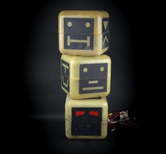 Three of Zelda's Cubes used in the production of Terrahawks