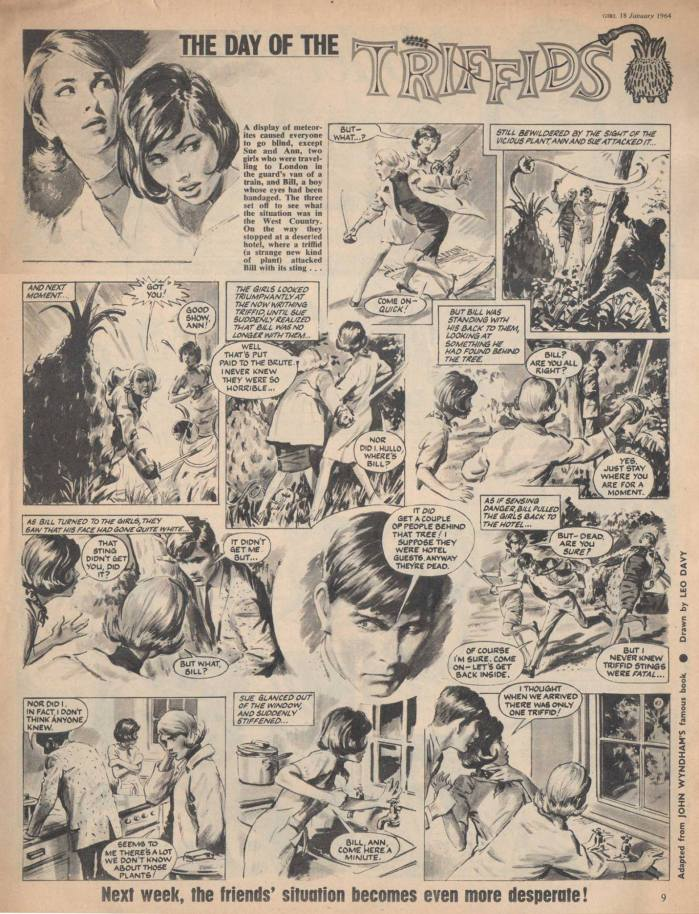 """An episode of """"The Day of the Triffids"""" from Girl (Girl Volume 13 No 5). Art by Leo Davy"""