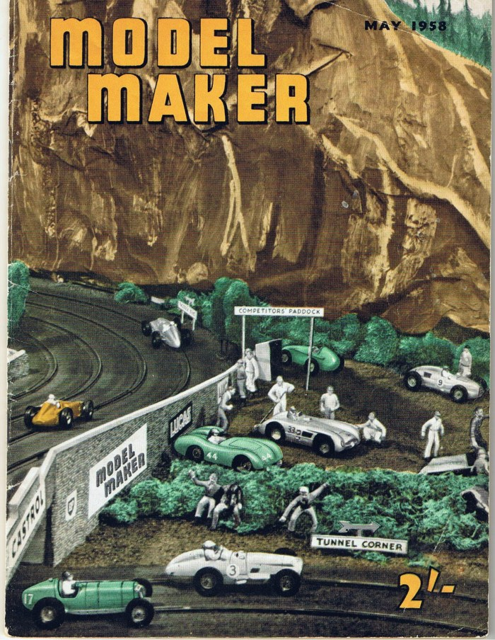 Southport ARRA's slot car racing track, featuring detailed design work by Walkden Fisher, on the cover of Model Maker magazine, May 1958