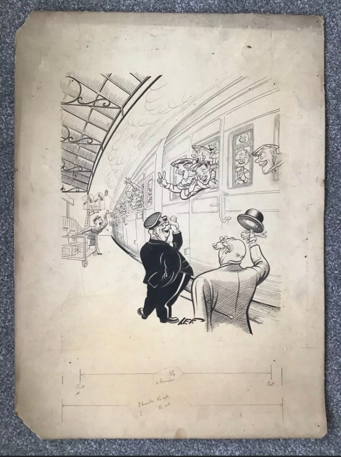 """A cartoon - probably one of his wartime """"Smiling Through"""" series - by Joseph Lee, on offer on eBay"""