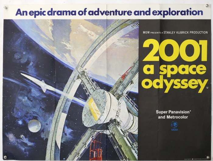 2001: A Space Odyssey (1968) British Quad film poster, artwork by Robert McCall, folded, 30 x 40 inches. Generally in very good condition