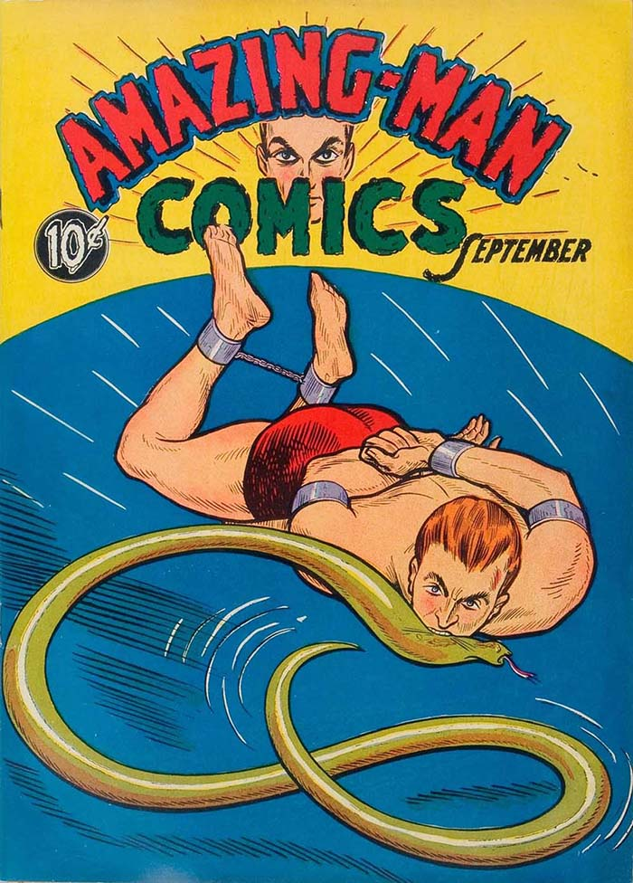The cover of Amazing-Man Comics #5, published in September 1939 by US publisher Centaur. Some Centaur characters have been revived in recent years by Dynamite Entertainment under their Project Superpowers title
