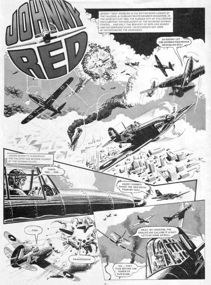 "While the bulk of Peter Foster's career in the UK was for DC Thomson, he draw some strips for IPC, most notably an eight-page ""Johnny Red"" story for the 1979 Battle Holiday Special. Peter was the third artist to depict the adventures of Johnny Red, after original artist Joe Colquhoun and his successor John Cooper. For the grey tones on this strip, Peter used grey paint which he later lamented would have been easier to achieve with watered down ink."
