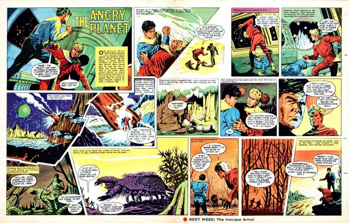 """An episode of """"Angry Planet"""" the first Brett Million story for Boy's World, from the issue  cover dated 5th October 1963, scripted by Harry Harrison with art Frank Langford (aka Cyril Eidlestein). Brett Million ran in Boy's World Boys' World Volume One from Issue 45 through to Volume, Issue 17, with """"Ghost Planet"""" drawn by Frank Bellamy"""