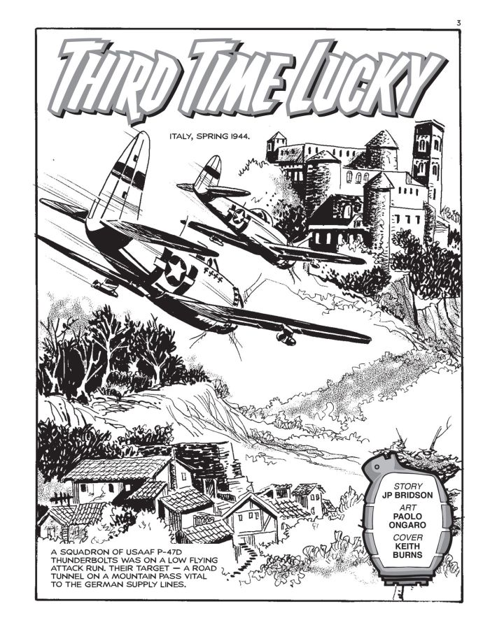 """The opening page of Commando 5377, """"Third Time Lucky"""", written by JP Bridson with art by Paolo Ongaro"""