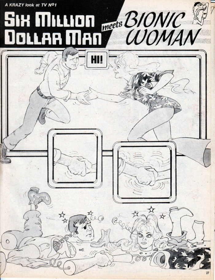 Bill Titcombe provided numerous one-page gag panels for Krazy, including this meeting of The Six Million Dollar Man with The Bionic Woman for the title's first issue, published in 1976