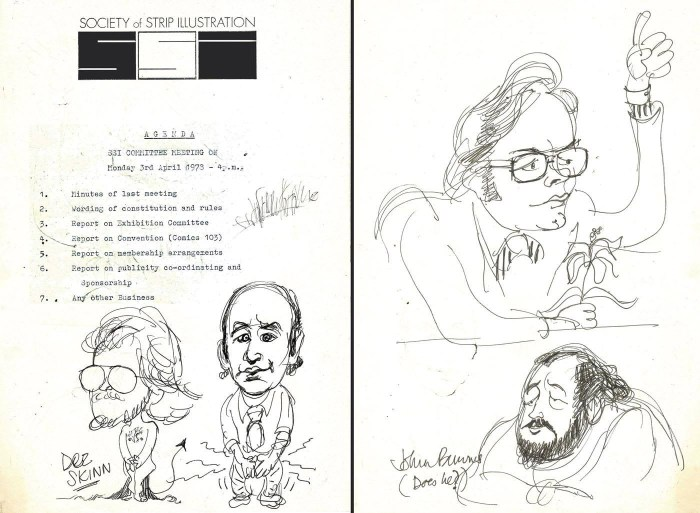 Society of Strip Illustrator Meeting Caricatures by Bill Titcombe - with thanks to Dez Skinn