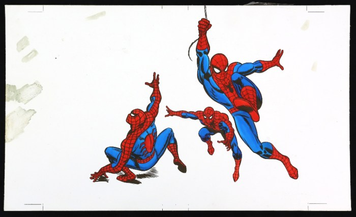 The Amazing Spider-Man - Original artwork for the VHS cover 'In the Terrible Triumph of Dr. Octopus' (1984), with acetate and paper overlay showing colour options, details and layouts, on board, 23 x 38 cm