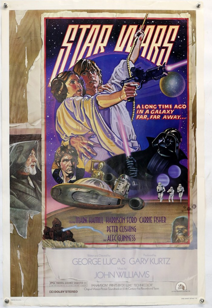 Star Wars (1977) US One Sheet film poster, Style D, artwork by Drew Struzan and Charles White, the favoured style by George Lucas, rolled, 27 x 41 inches. Small tear to lower edge and right hand edge