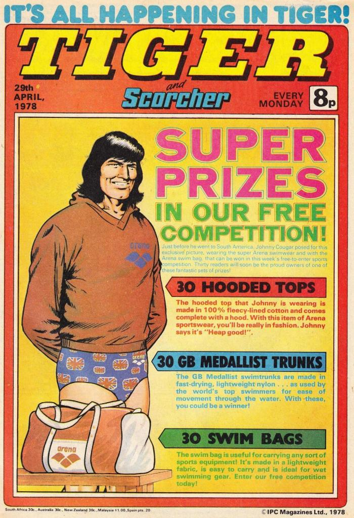 Tiger and Scorcher - cover dated 29th April 1978. Perhaps Johnny Cougar's strangest appearance...