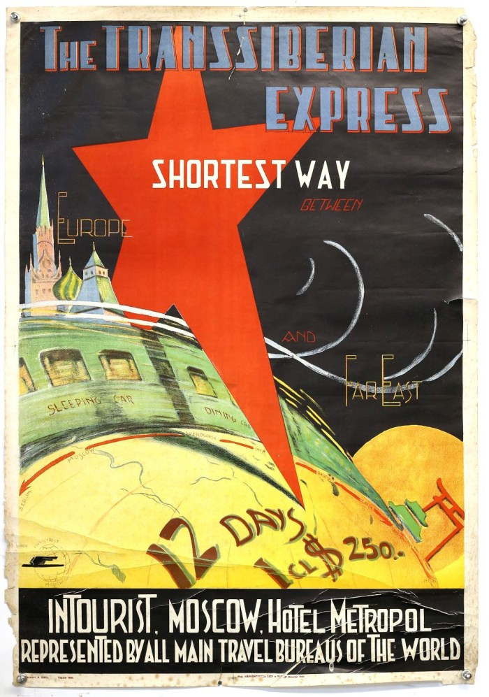"Soviet Travel Poster (1930's) Original Soviet Intourist Travel Poster, ""Trans Siberian Express"", Russia, Intourist travel poster, 'Trans Siberian Express Shortest way between Europe and the Far East, Intourist Moscow, Hotel Metropol represented by all main travel bureaus of the world', rolled, 27 x 39 inches"