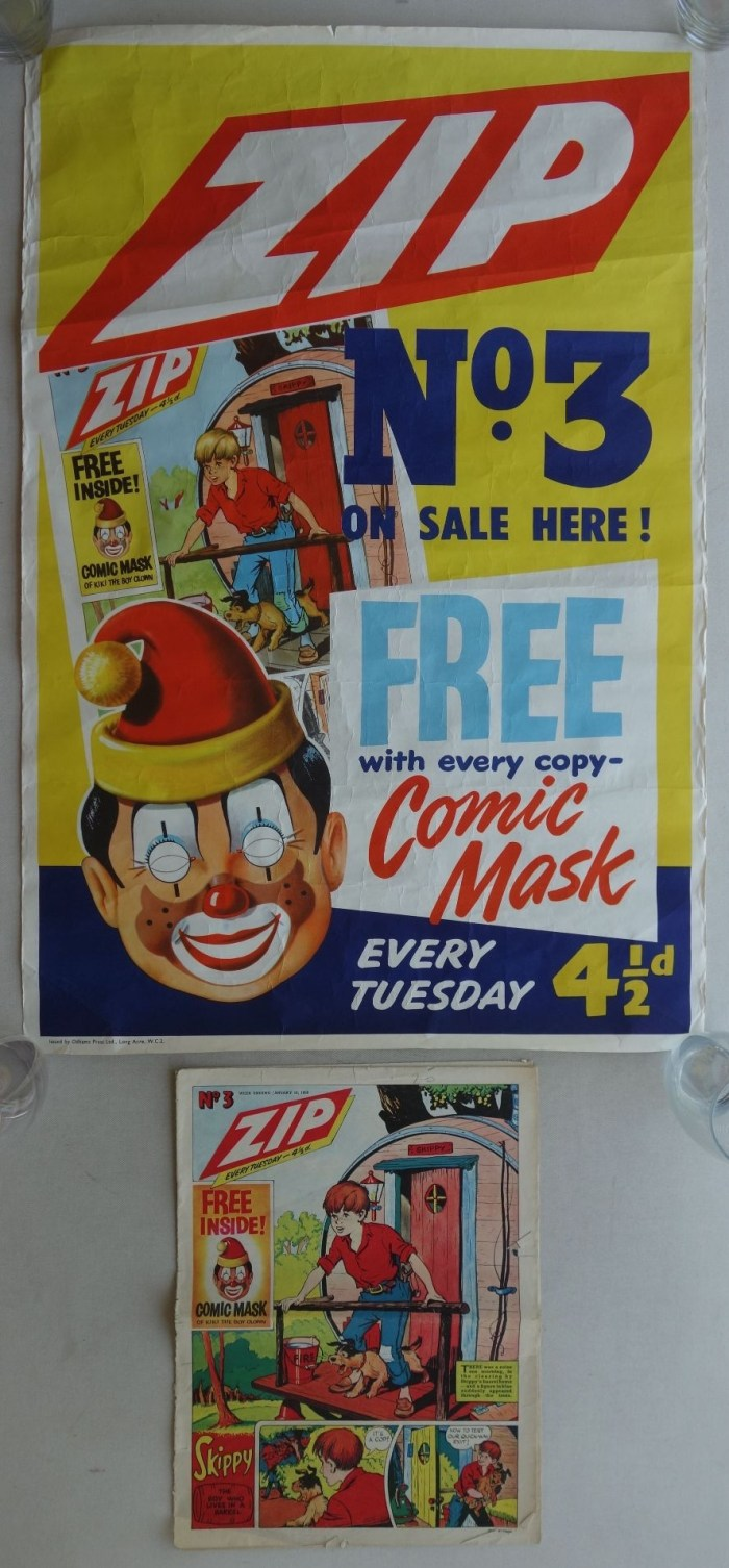 Zip No. 3, published in 1958, and newsagents poster
