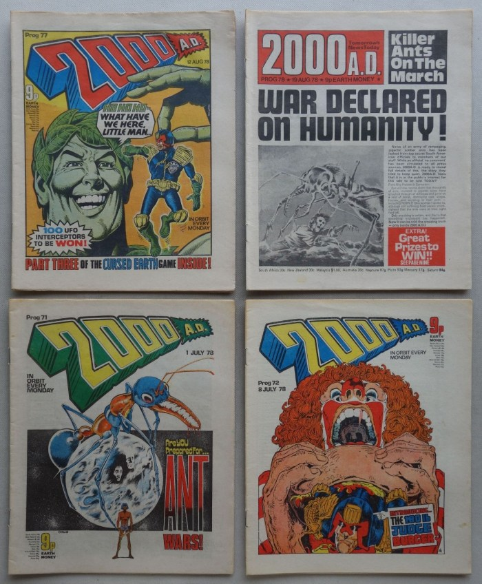 """2000AD Progs 71, 72, 77, 78 - the """"Banned"""" issues, a title describing the Judge Dredd strip inside which faced copyright issues from leading fast food companies at the time of first publication"""