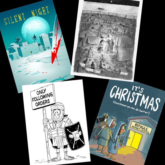 The Refugee Christmas Cards, by (from top left, clockwise) Siku, Stu McLellan, Dean Rankine and Steve Beckett
