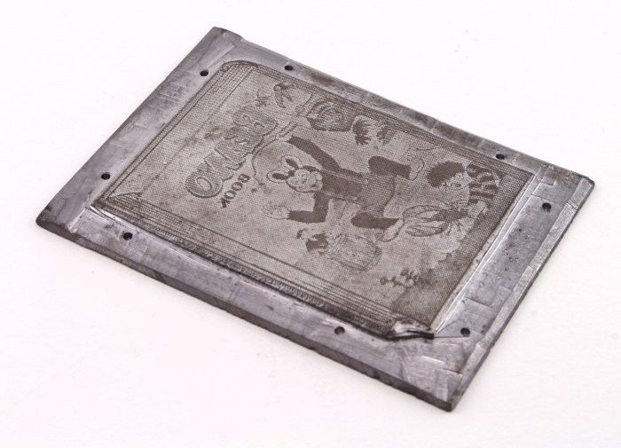 A metal printing plate depicting the front cover of The Beano Book 1954, probably used for advertising purposes in the comics running up to Christmas for that year