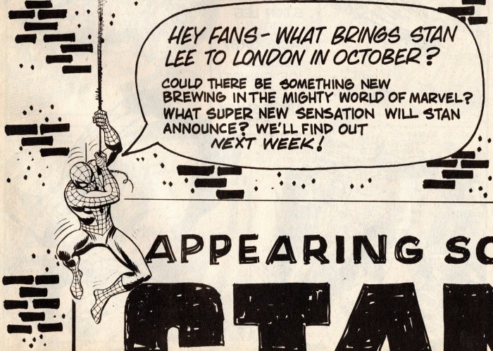 The first teaser advert for a Roundhouse event with Stan Lee in London, back in 1975