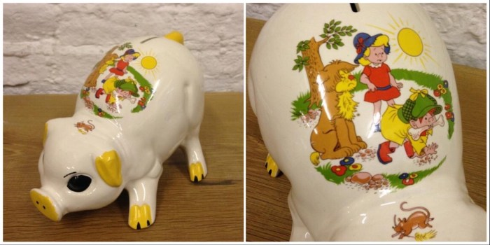The Perishers Piggy Bank, dated as produced in the 1960s. Via Etsy