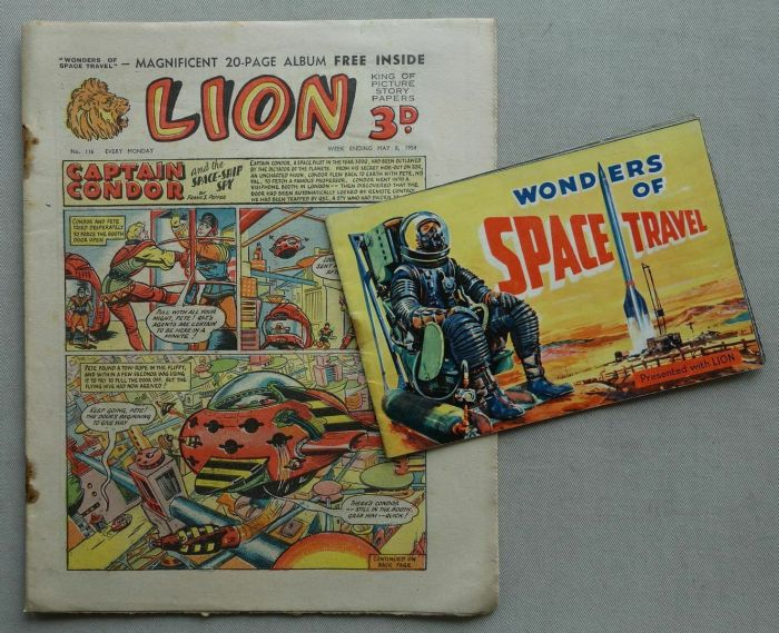 """Lion 116 cover dated 8th May 1954, with free """"Space Wonders"""" gift"""