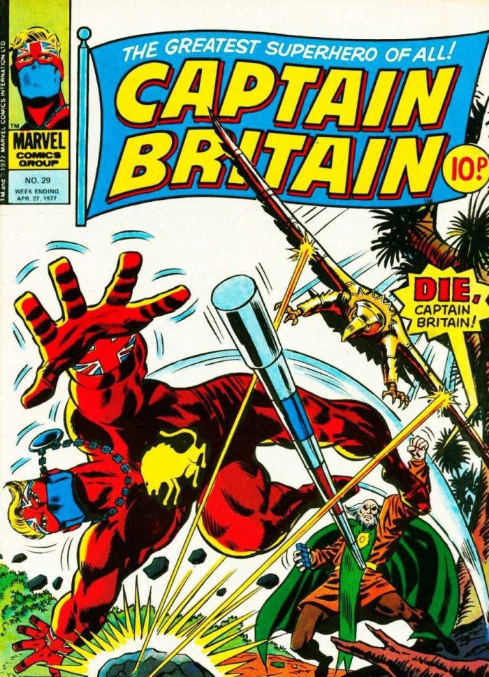 The published cover of Captain Britain #29, with thanks to Lew Stringer