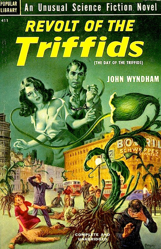 "The French graphic novels were titled in the style of other editions of John Wyndham's novel, which was published as ""Revolt of the Triffids as a Popular Library title (Number 411), in 1952. Cover art by Earle Bergey"
