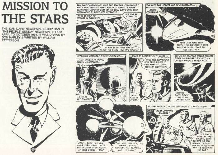 The opening episode of Dan Dare: Mission to the Stars, as presented in Hawk Books Dan Dare Dossier. Art by Don Harley