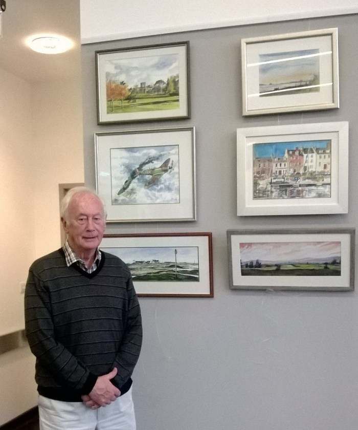 Frank McDiarmid at his exhibition at Whitehills Health & Community Care Centre in Forfar in 2017. Photo: NHS Tayside