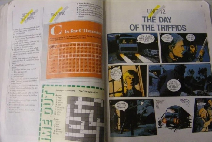 English Visa Student Work Book by Jon Blundell - 1980s edition featuring Day of the Triffids strip by Arthur Ranson
