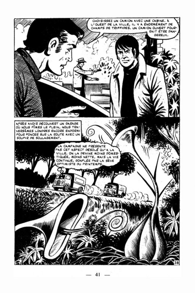 A page from the French adaptation of The Day of the Triffids, published in 1977 in Sideral
