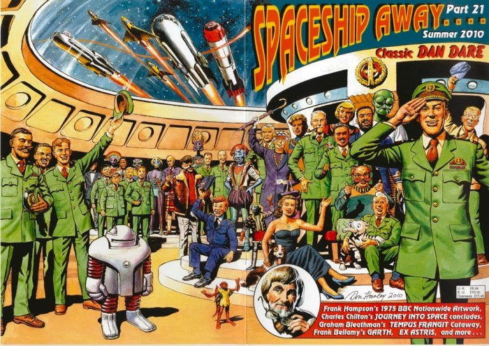 Don Harley's superb wraparound Dan Dare cover for Spaceship Away 21