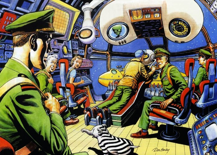 A Dan Dare centrespread for Spaceship Away 35 by Don Harley