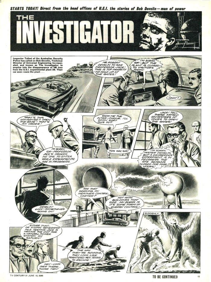 """The Investigator"", drawn by Don Harley, from TV Century 21 No. 74, published in June 1966"