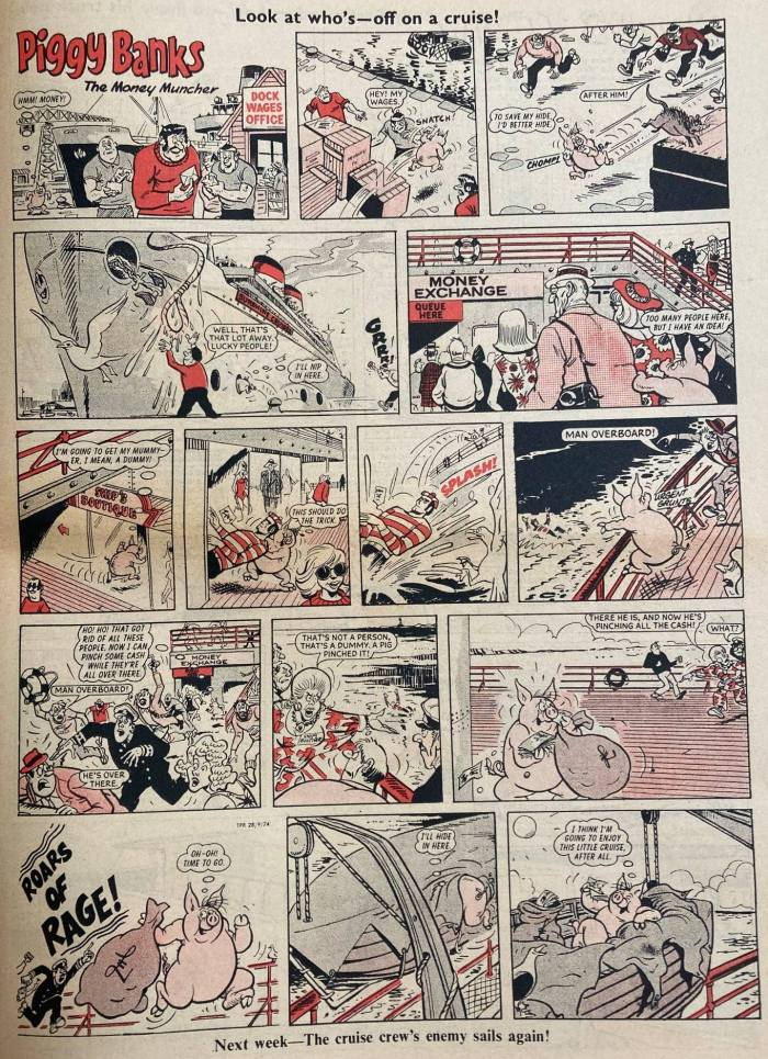 """While IPC kept Frank McDiarmid busy in the 1970s, he still contributed to DC Thomson's The Topper, taking over over """"Piggy Banks"""" with No. 1127, cover dated 7th September 1974 and continuing on the strip until it ended in the first issue of 1975. With thanks to Irmantas Povilaika © DC Thomson Media"""