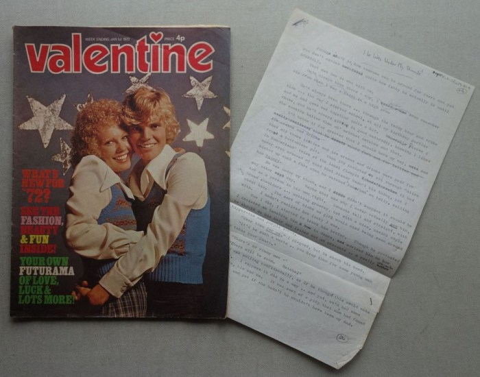 Valentine cover dated 1st January 1972, plus original script by Miss Valerie Harman of Northumberland, who passed away in August 2018