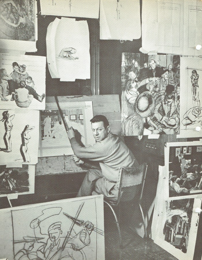 """Austin Briggs at work, from the rare book """"How I Make A Picture"""" released in the 1940s as part of the Famous Artists Advanced Program"""