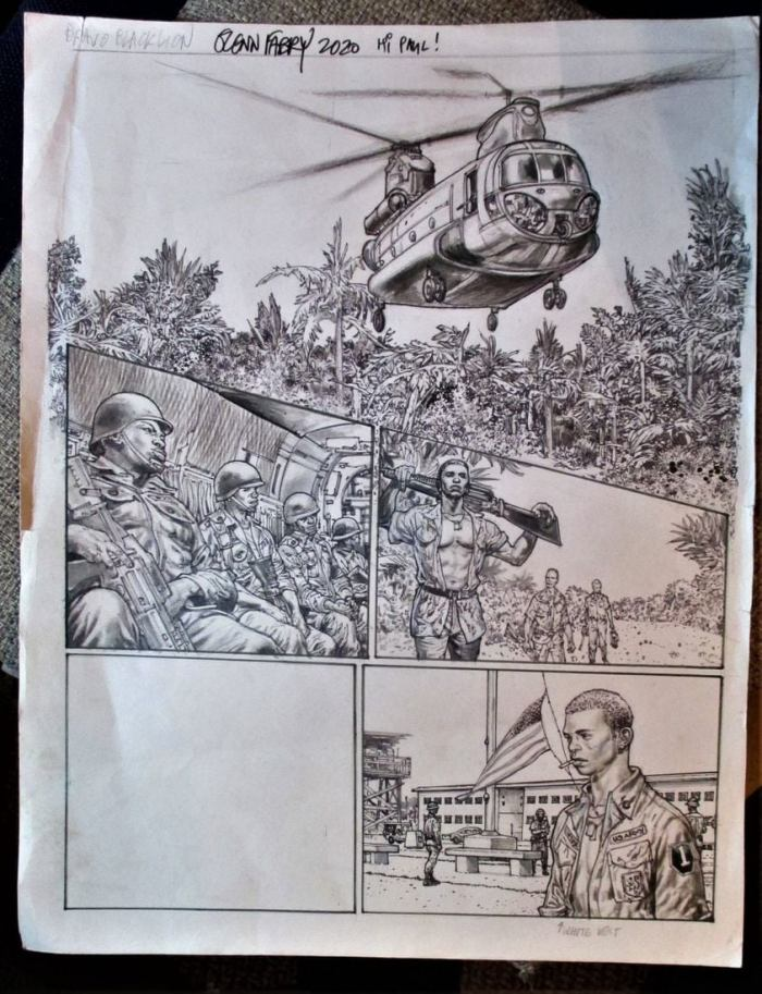 "Art from ""Bravo, Black Lion"" from the Battle Special 2020, a story written by Alex de Campi , art by Glenn Fabry"
