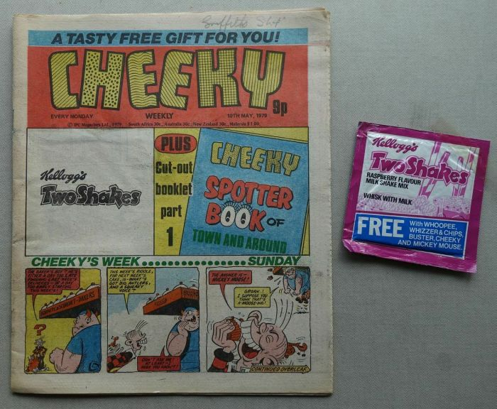 Cheeky, cover dated 19th May 1979, with Kelloggs Shakes free gift
