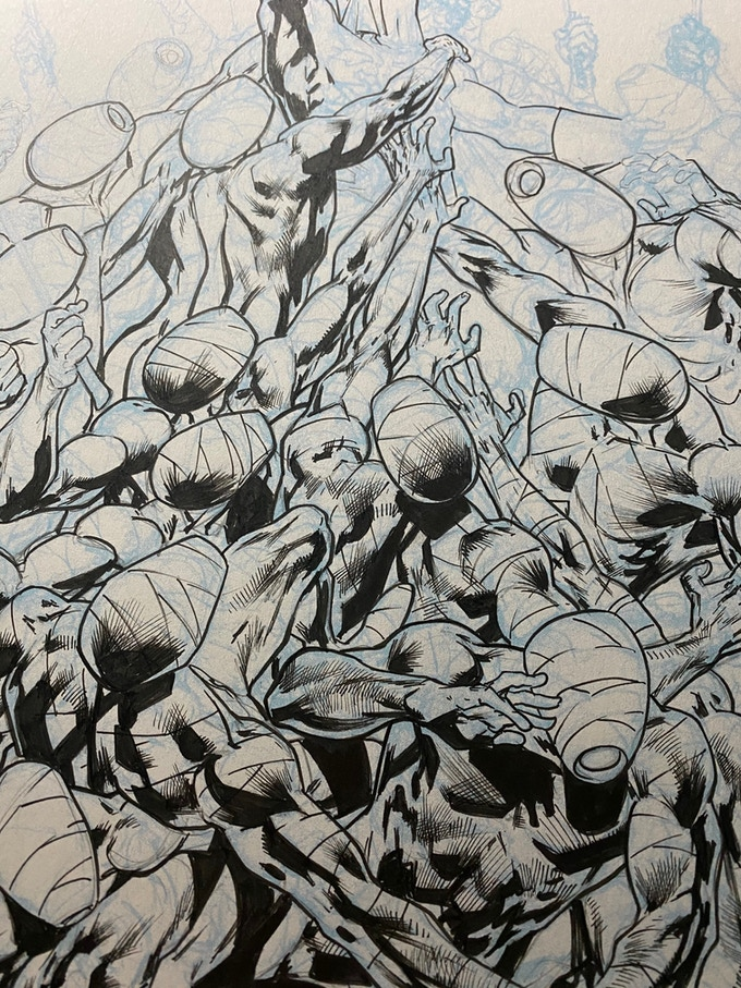 """A snapshot of Bryan Hitch's progress inking Jack Katz's cover to the unpublished story """"Artemis Rising""""."""