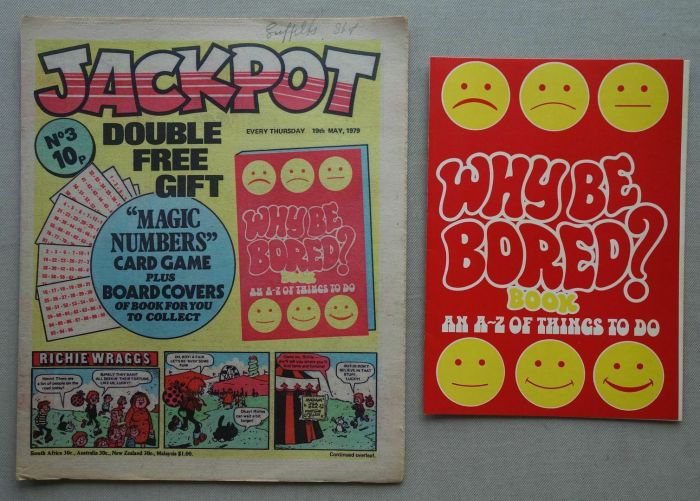 "Jackpot No. 3, cover dated 19th May 1979, with ""Why Be Bored Book"" free gift"