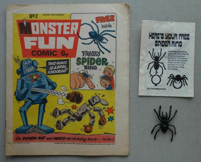 "Monster Fun No. 2, cover dated 21st June 1975, with free ""Spider"" gift"