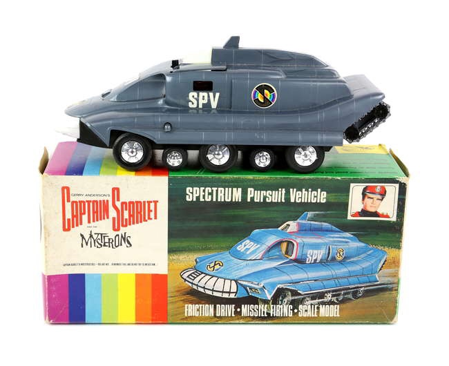 Captain Scarlet and the Mysterons - Century 21 Toys Gerry Anderson's Captain Scarlet and the Mysterons Spectrum Pursuit Vehicle, friction drive plastic model, complete with sliding door with driver, passenger for ejector seat, boxed, dimensions of box 27 x 12 x 11 cm. Image: Ewbanks