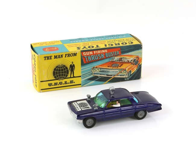 Corgi - No 497 The Man from U.N.C.L.E. Gun Firing 'Thrush-Buster' die cast model car, boxed with inner shelf and ring. Image: Ewbanks