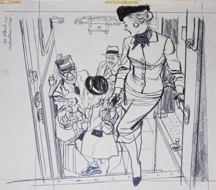 Woman Boarding Train by Austin Briggs