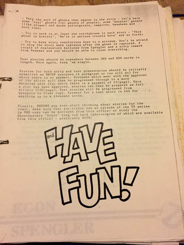 Richard Starkings notes to creators for Marvel UK's The Real Ghostbusters comic